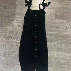 Black ribbed shoulder tie midi dress
